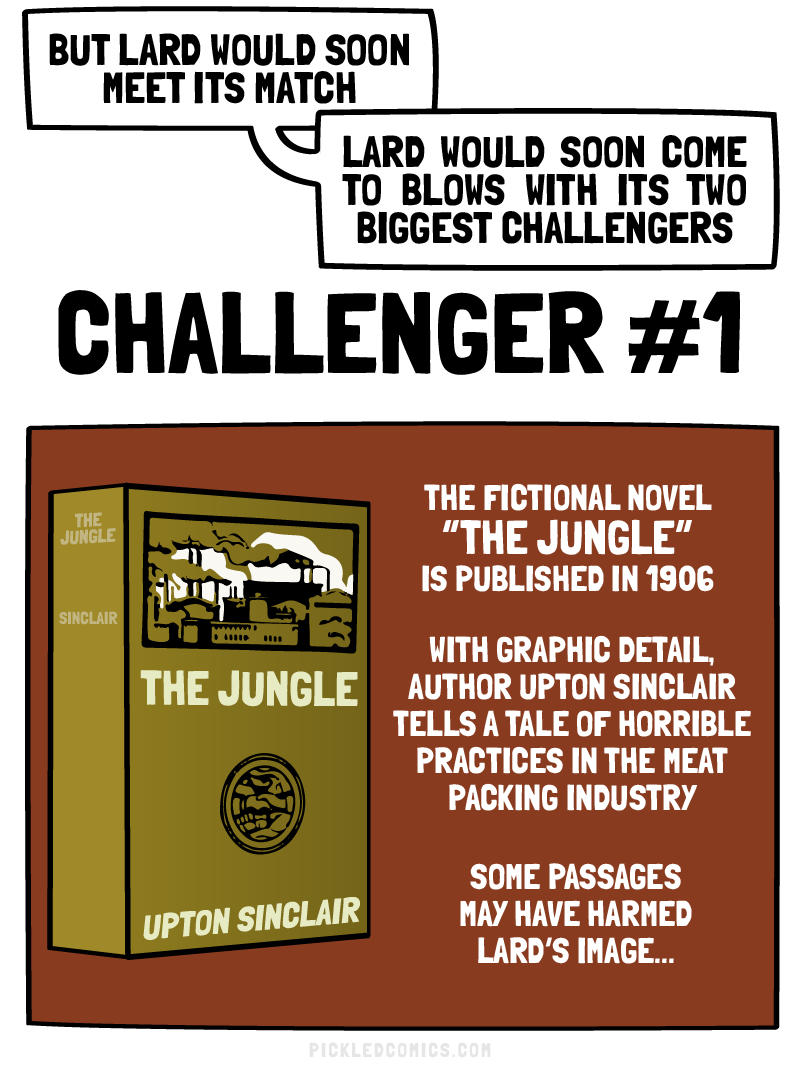 The fictional novel The Jungle is published in 1906. With graphic detail author Upton Sinclair tells a tale of horrible practices in the meat packing industry.