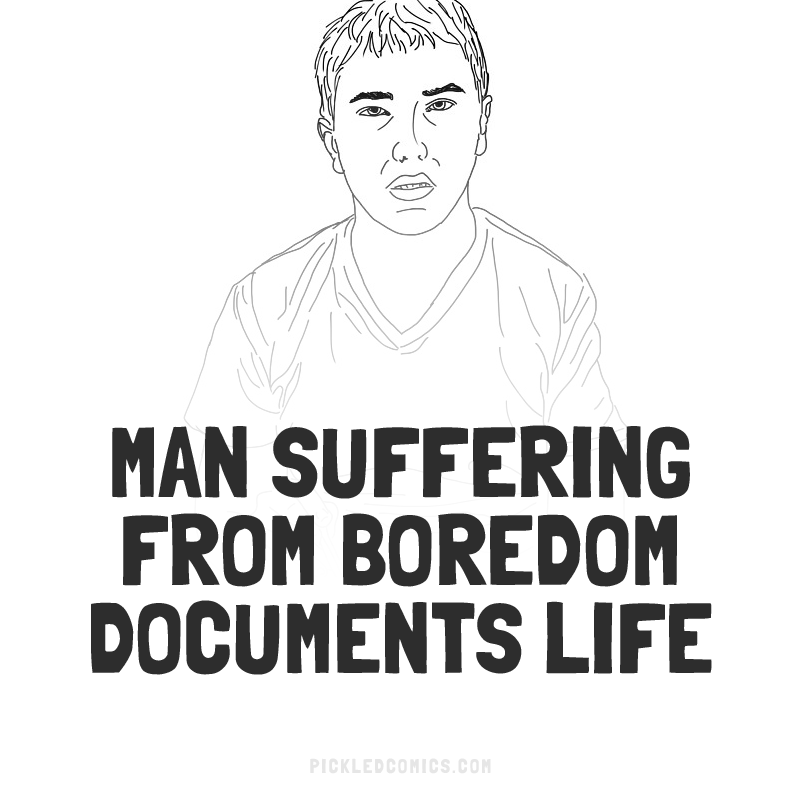 Man Suffering From Boredom Documents Life