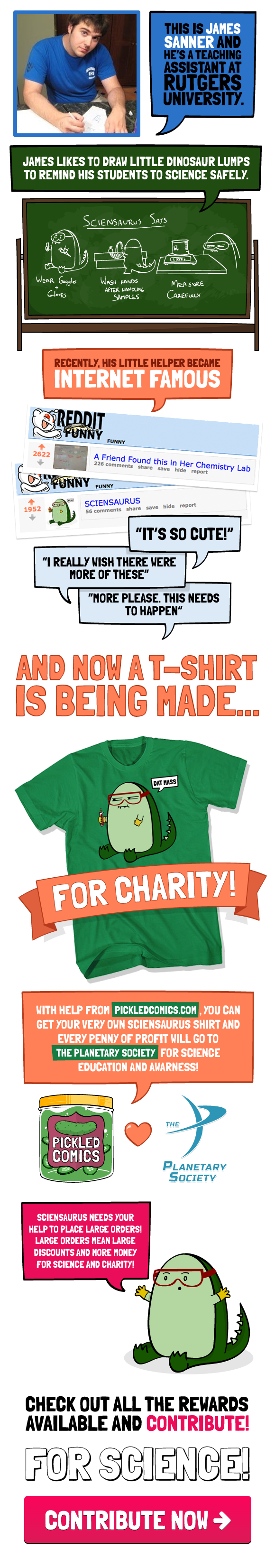 Sciensaurus raised money for The Planetary Society with a shirt on indiegogo.