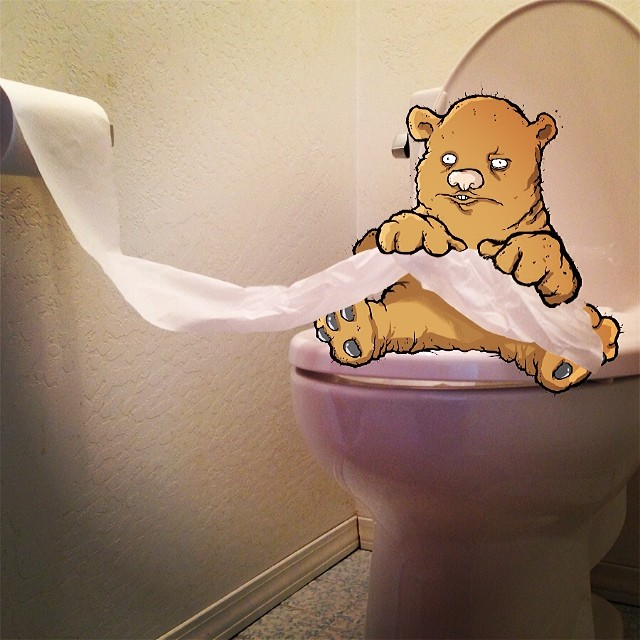 Bear and toilet paper.