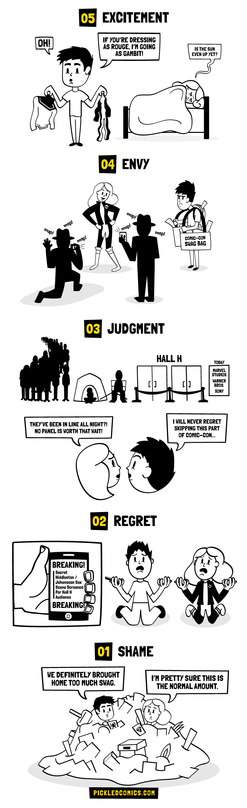The five stages of visiting Comic-Con. Excitement, Envy, Judgment, Regret, and Shame.